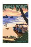 Dana Point  California - Woody on Beach (Palm Tree Version)