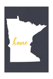 Minnesota - Home State - White on Gray