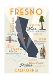 Fresno  California - Typography and Icons