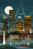 Boston  Massachusetts - Retro Skyline (no text)