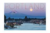 Portland  Oregon - Mt Hood with Purple Sky and Water