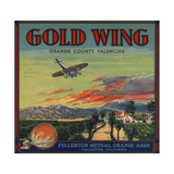 Gold Wing Brand - Fullerton  California - Citrus Crate Label