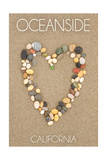 Oceanside California - Stone Heart on Sand