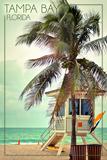 Tampa Bay  Florida - Lifeguard Shack and Palm