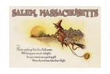 Salem  Massachusetts - Halloween Joys - Witch on Broom - Vintage Artwork