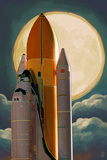 Space Shuttle and Moon