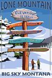 Big Sky  Montana - Lone Mountain - Ski Signpost