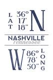 Nashville  Tennessee - Latitude and Longitude (Blue)