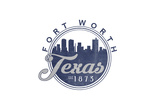Fort Worth  Texas - Skyline Seal (Blue)