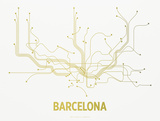 Barcelona Screen Print White Sérigraphie par LinePosters