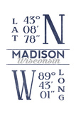 Madison  Wisconsin - Latitude and Longitude (Blue)