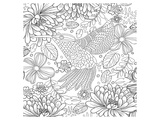 Colibri Tropical Flower Coloring Art