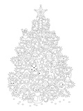 Christmas Tree Design Coloring Art Poster à colorier par Anonymous
