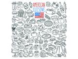 American Cuisine Coloring Art Poster à colorier