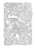 Elephant & Fruit Jungle Design Coloring Art
