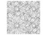 Handdrawn Floral Coloring Art