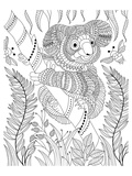 Koala Bee And Bamboo Coloring Art Poster à colorier par Anonymous