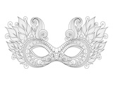 Carnival Floral Mask Feathers Coloring Art