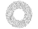 Floral Wreath Coloring Art