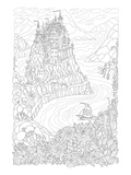 River Frotress Coloring Art Poster à colorier par Anonymous
