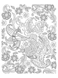 Peacock And Flowers Coloring Art Poster à colorier