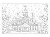 Winter Snow Palace Coloring Art Poster à colorier