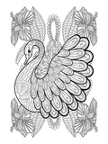 Swan & Amaryllis Design Coloring Art