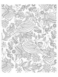 Two Partridges In A Tree Design Coloring Art Poster à colorier