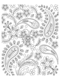 Teardrop Floral Design Coloring Art