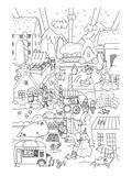 Snowy Town Kids Coloring Art Poster à colorier