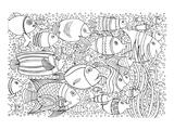 Tropical Fish Coloring Art Poster à colorier