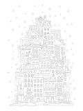 Tower Of Houses In Winter Coloring Art Poster à colorier