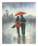 Seattle Lovers in the Rain Reproduction d'art par Vickie Wade