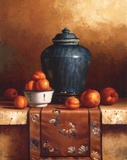 Ginger Jar with Peaches  Apricots & Tapestry