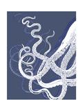 White Octopus on Indigo Blue c