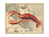 Lobster print on Nautical Map