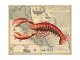Lobster print on Nautical Map Reproduction d'art par Fab Funky