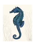Blue Seahorses on Cream b Reproduction d'art par Fab Funky
