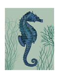 Blue Seahorses on Light Green Sage a