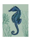 Blue Seahorses on Light Green Sage b
