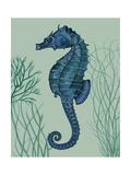 Blue Seahorses on Light Green Sage b Reproduction d'art par Fab Funky