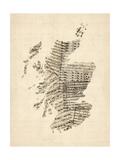 Old Sheet Music Map of Scotland
