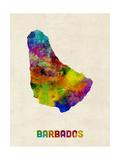 Barbados Watercolor Map