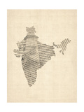 Old Sheet Music Map of India