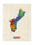 Guam Watercolor Map