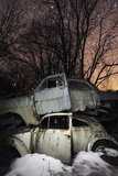 Old Abandoned Cars Stacked on Atop the Other in 'Car Graveyard' at Night  Bastnas  Sweden April