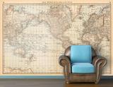 Map of the World (circa 1879) - Vintage Self-Adhesive Wallpaper
