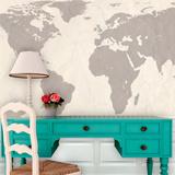 World Atlas Map - Cream Self-Adhesive Wallpaper