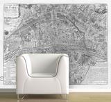 Paris - 1705 Map of Paris - Black & White Self-Adhesive Wallpaper