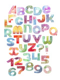 Watercolor Letters and Numbers Sequence  Gradient Alphabet